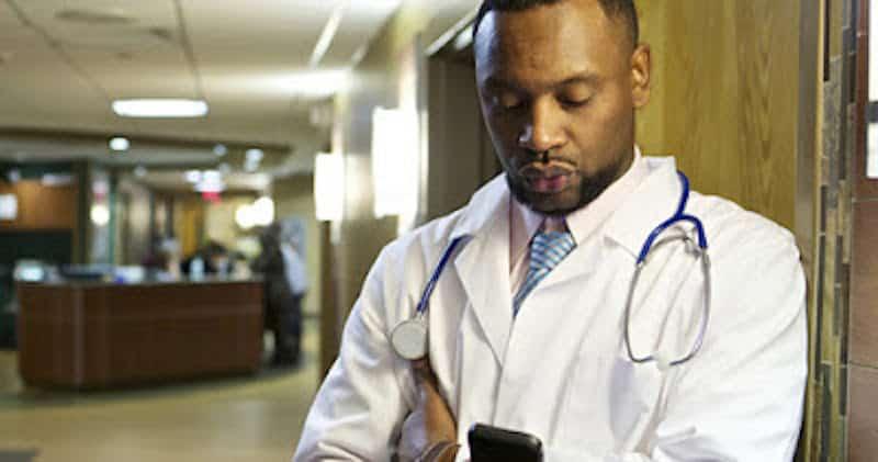 Pensive black doctor